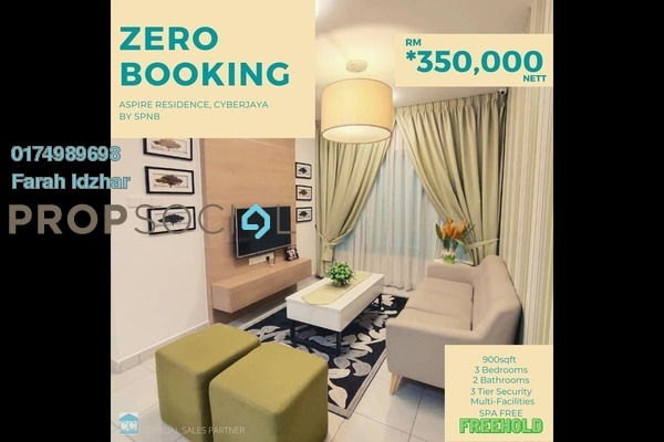 For Sale Apartment at Aspire Residence, Cyberjaya Freehold Unfurnished 3R/2B 350k
