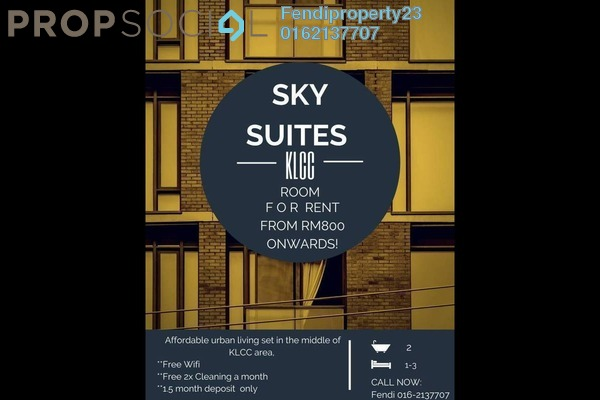 For Rent Condominium at Sky Suites @ KLCC, KLCC Freehold Fully Furnished 1R/1B 1.2k