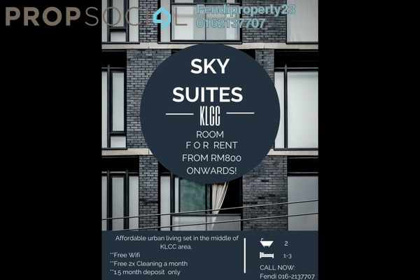 For Rent Condominium at Sky Suites @ KLCC, KLCC Freehold Fully Furnished 1R/1B 800translationmissing:en.pricing.unit