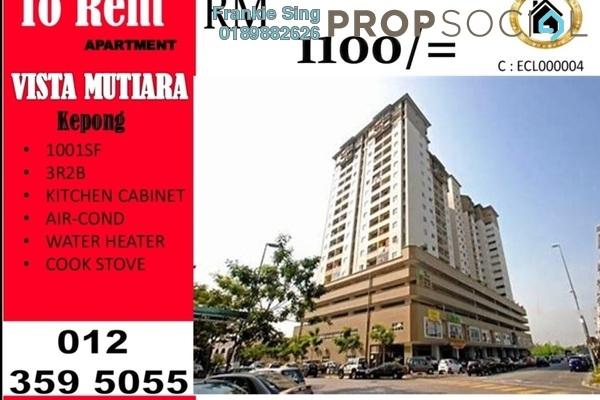 For Rent Condominium at Vista Mutiara, Kepong Freehold Semi Furnished 3R/2B 1.1k
