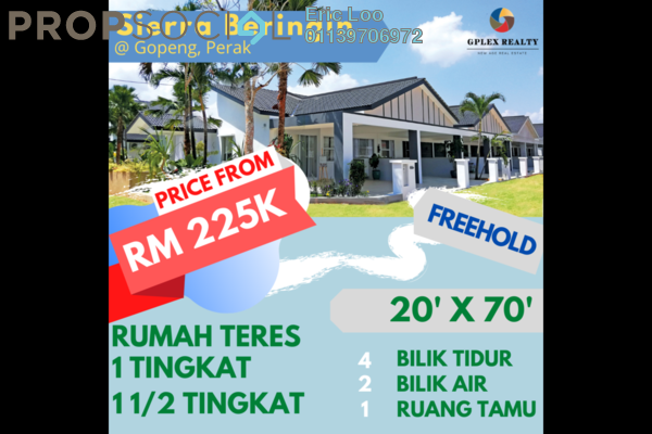 For Sale Terrace at Taman Gopeng, Gopeng Freehold Semi Furnished 4R/2B 225k