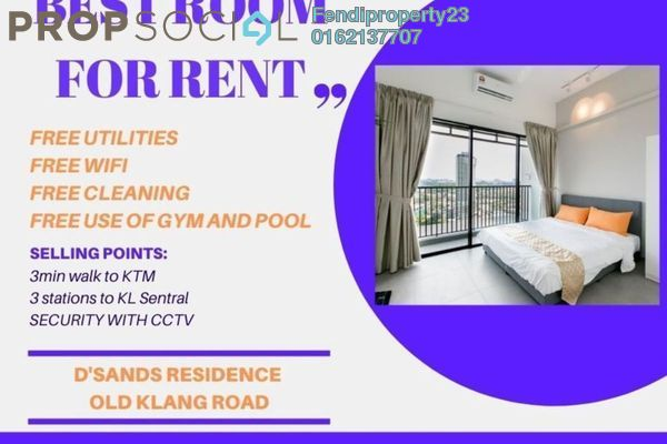 For Rent Condominium at D'Sands Residence, Old Klang Road Freehold Fully Furnished 1R/1B 1.1k