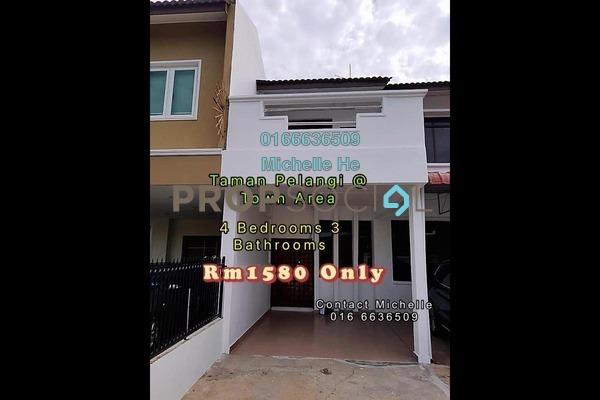 Terrace For Rent in Taman Pelangi, Johor Bahru Freehold Semi Furnished 4R/3B 1.58k