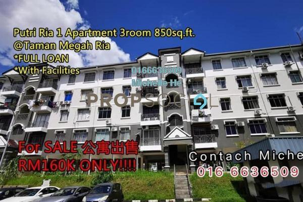 For Sale Apartment at Taman Megah Ria, Pasir Gudang Freehold Unfurnished 3R/2B 160k
