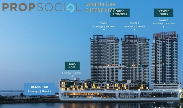 Condominium For Sale in Puteri Cove Residences & Quayside, Iskandar Puteri (Nusajaya) Freehold Semi Furnished 2R/1B 365k