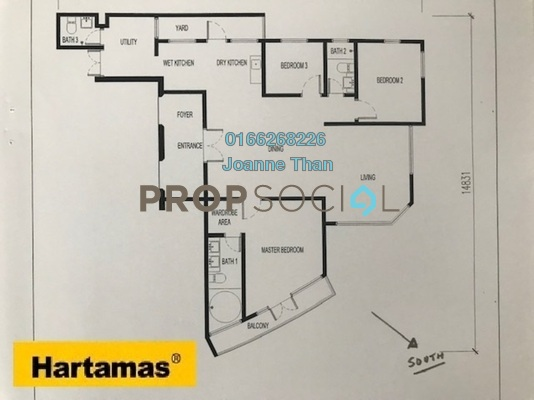For Sale Serviced Residence at KL Gateway, Bangsar South Freehold Semi Furnished 3R/2B 1.18m