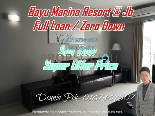 Serviced Residence For Sale in Bayu Marina, Johor Bahru Leasehold Fully Furnished 2R/2B 3.08m