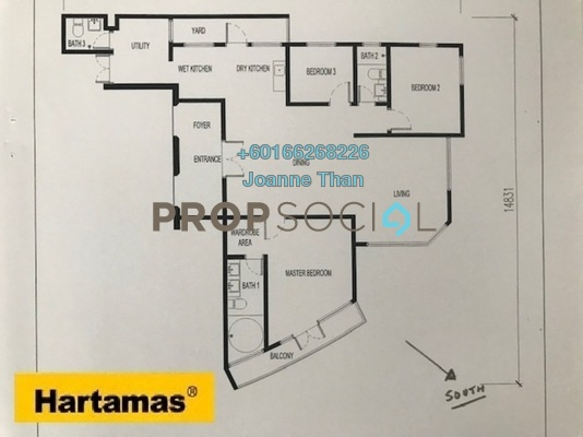 Serviced Residence For Sale in KL Gateway, Bangsar South Freehold Semi Furnished 3R/2B 1.18m