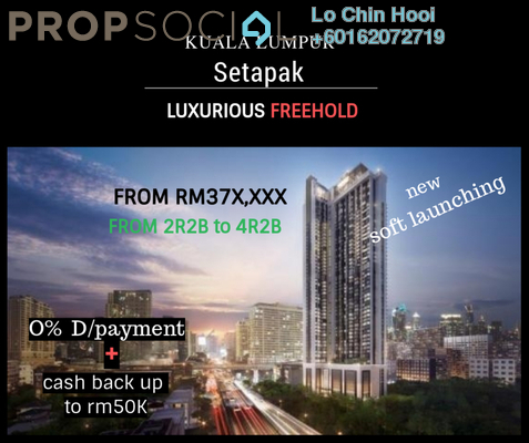 Serviced Residence For Sale in Danau Kota Suite Apartments, Setapak Freehold Unfurnished 2R/2B 380k