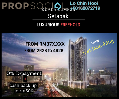 Serviced Residence For Sale in 222 Residency, Setapak Freehold Unfurnished 2R/2B 385k