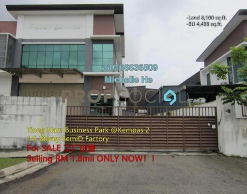 Factory For Sale in Taman Kempas Utama, Johor Bahru Freehold Semi Furnished 0R/0B 1.8m