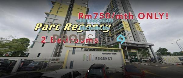 Condominium For Rent in Parc Regency, Johor Bahru Freehold Semi Furnished 2R/2B 750translationmissing:en.pricing.unit