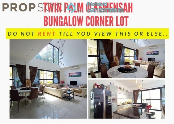 Bungalow For Rent in Twin Palms, Kemensah Freehold Fully Furnished 6R/6B 10k