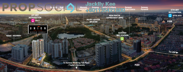 Condominium For Sale in Union Suites, Bandar Sunway Freehold Fully Furnished 1R/1B 443k