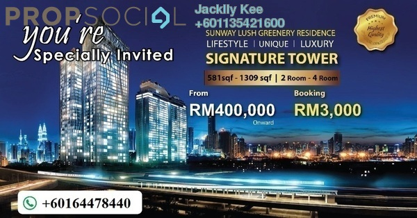 Serviced Residence For Sale in Greenfield Residence, Bandar Sunway Leasehold Semi Furnished 2R/1B 385k