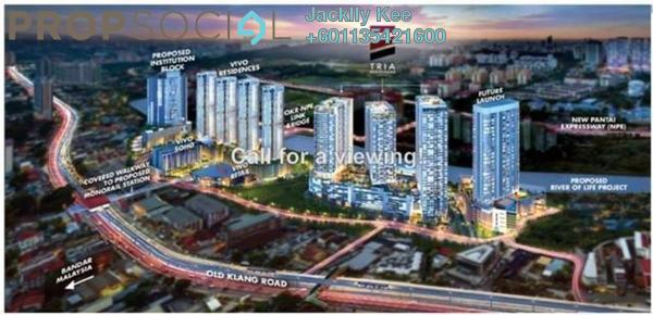 Condominium For Sale in Tria Residences @ 9 Seputeh, Old Klang Road Freehold Semi Furnished 3R/3B 989k