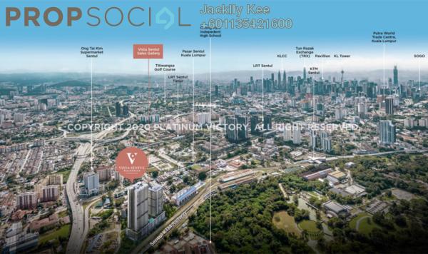 Condominium For Sale in Vista Sentul, Sentul Freehold Semi Furnished 2R/2B 329k