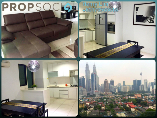Condominium For Rent in Setia Sky Residences, KLCC Freehold Fully Furnished 2R/3B 3k