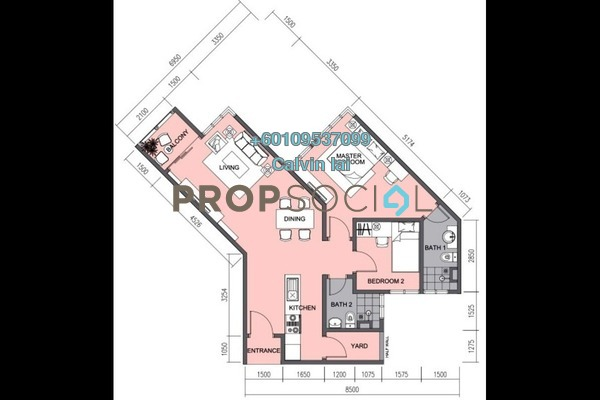 Serviced Residence For Rent in J.dupion, Cheras Freehold Semi Furnished 2R/2B 2.4k