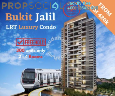 Apartment For Sale in Convena Residence, Bukit Jalil Freehold Unfurnished 2R/2B 420k