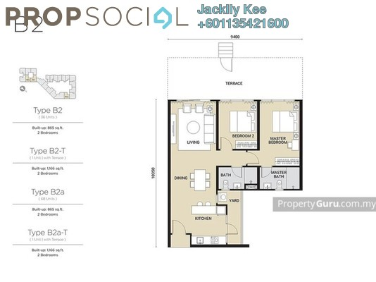 Condominium For Sale in Parc 3, Cheras Freehold Semi Furnished 2R/2B 654k