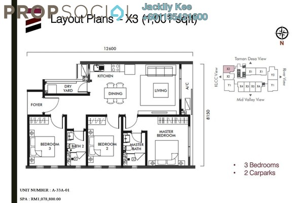 Condominium For Sale in Tria Residences @ 9 Seputeh, Old Klang Road Freehold Fully Furnished 3R/2B 982k