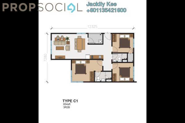 Condominium For Sale in 216 Residences, Kuchai Lama Freehold Semi Furnished 3R/2B 507k