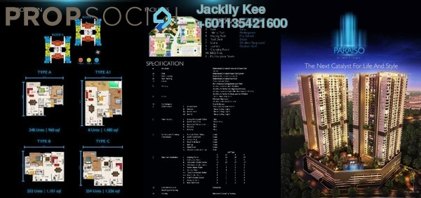 Condominium For Sale in Paraiso @ The Earth Bukit Jalil, Bukit Jalil Freehold Semi Furnished 3R/2B 479k