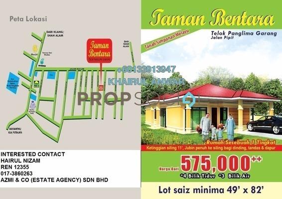 Bungalow For Sale in Taman Bentara, Telok Panglima Garang Leasehold Unfurnished 4R/3B 500k