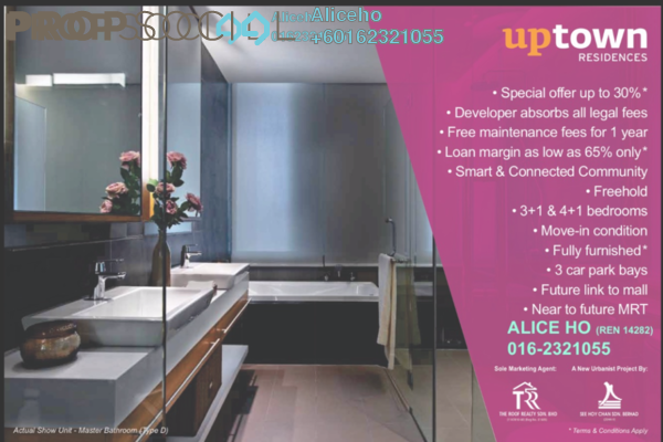 Condominium For Sale in Uptown Residences, Damansara Utama Freehold Fully Furnished 4R/4B 3.37m