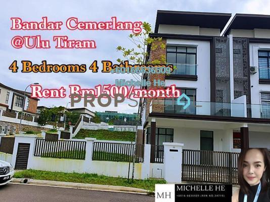 Semi-Detached For Rent in Bandar Cemerlang, Ulu Tiram Freehold Unfurnished 4R/4B 1.5k