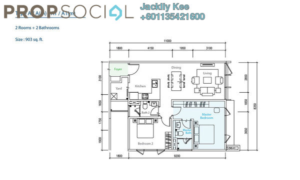 Condominium For Sale in The Como, Bukit Jalil Freehold Semi Furnished 2R/2B 644k