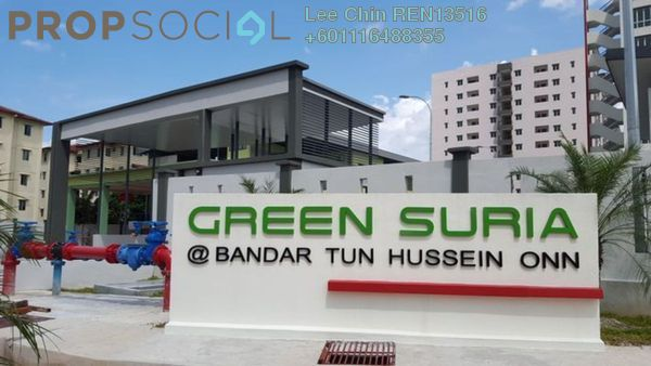 Apartment For Sale in Green Suria Apartment, Bandar Tun Hussein Onn Freehold Semi Furnished 3R/2B 360k