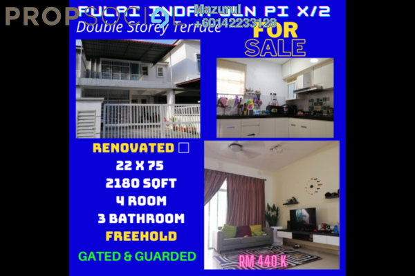 Terrace For Sale in Taman Pulai Indah, Pulai Freehold Semi Furnished 4R/3B 440k