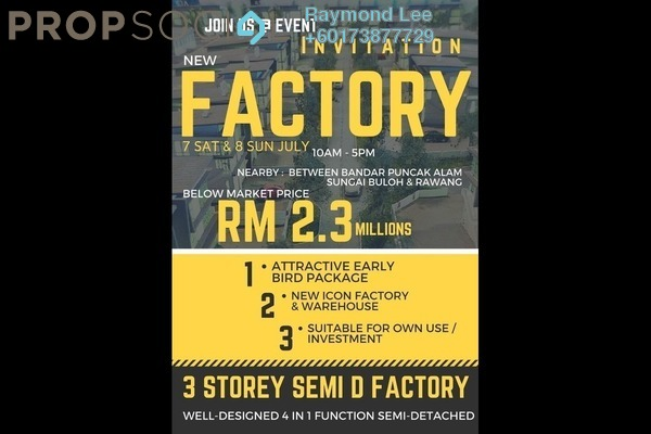 Factory For Sale in Nouvelle Industrial Park, Kota Puteri Leasehold Unfurnished 0R/7B 2.3m
