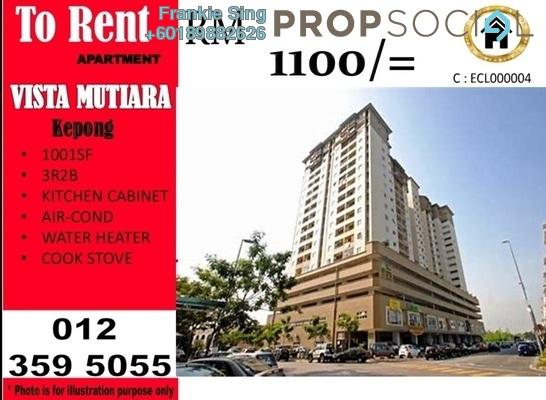 Condominium For Rent in Vista Mutiara, Kepong Freehold Semi Furnished 3R/2B 1.1k