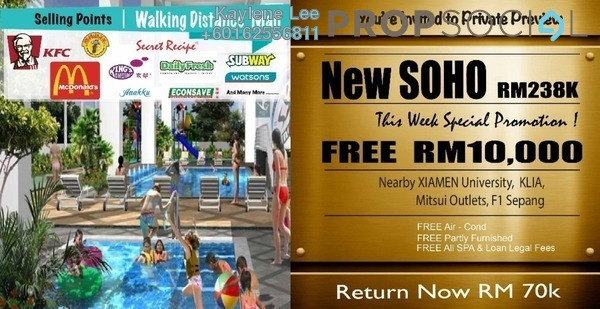 SoHo/Studio For Sale in Core SoHo Suites, Sepang Freehold Semi Furnished 1R/1B 238k