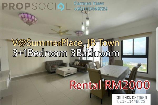 Serviced Residence For Rent in V @ SummerPlace, Johor Bahru Freehold Fully Furnished 3R/3B 2k