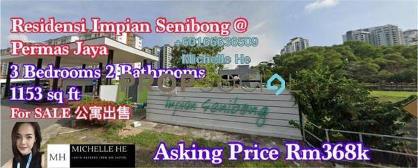 Apartment For Sale in Impian Senibong, Bandar Baru Permas Jaya Freehold Unfurnished 3R/2B 368k