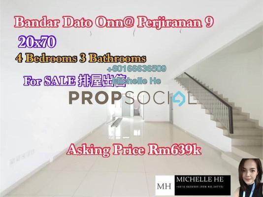 Terrace For Sale in Perjiranan 11, Bandar Dato' Onn Freehold Unfurnished 4R/3B 639k