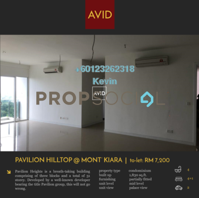Condominium For Rent in Pavilion Hilltop, Mont Kiara Freehold Semi Furnished 4R/4B 7.2k