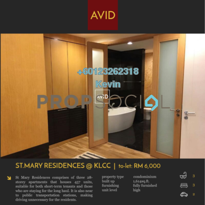 Condominium For Rent in St Mary Residences, KLCC Freehold Fully Furnished 3R/3B 6k