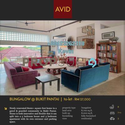Bungalow For Rent in Bukit Pantai, Bangsar Freehold Semi Furnished 7R/8B 25k