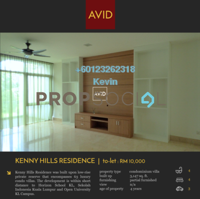 Serviced Residence For Rent in Kenny Hills Residence, Kenny Hills Freehold Semi Furnished 4R/4B 10k