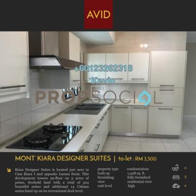 Condominium For Rent in Kiara Designer Suites, Mont Kiara Freehold Fully Furnished 3R/3B 3.5k