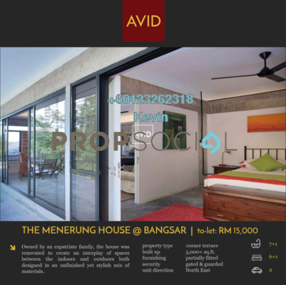Terrace For Rent in One Menerung, Bangsar Freehold Semi Furnished 7R/7B 18k