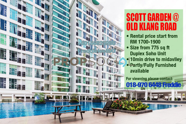 Condominium For Rent in The Scott Garden, Old Klang Road Freehold Semi Furnished 1R/2B 1.7k
