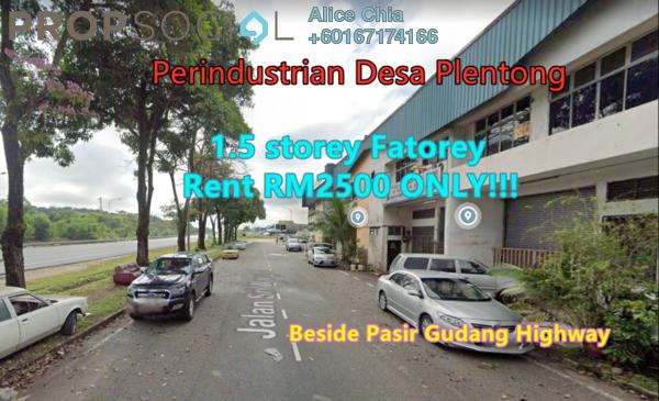 Factory For Rent in Desa Plentong Industrial Park, Bandar Baru Permas Jaya Freehold Unfurnished 0R/0B 2.5k