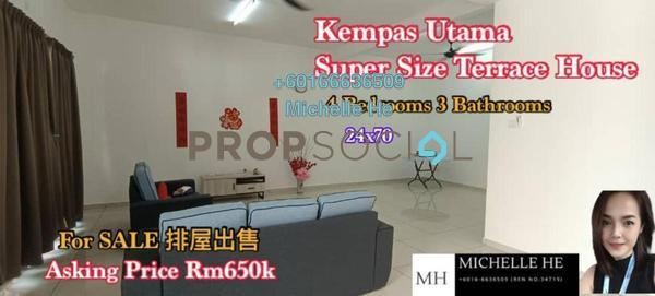 Terrace For Sale in Taman Kempas Utama, Johor Bahru Freehold Semi Furnished 4R/3B 650k
