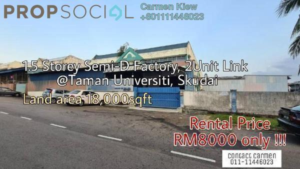 Factory For Rent in Taman Universiti, Skudai Freehold Unfurnished 0R/0B 8k